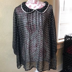Doe & Rae Sheer Collared Blouse w Pintuck Neck 4XL